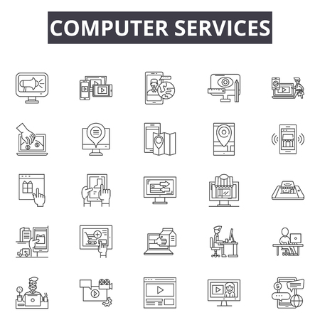Services line icons, signs set, vector. Services outline concept illustration: service,customer,support,help,phone,chat