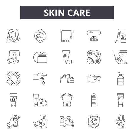 Skin care line icons, signs set, vector. Skin care outline concept illustration: care,skin,cream,face,lotion,treatment,beauty,facial