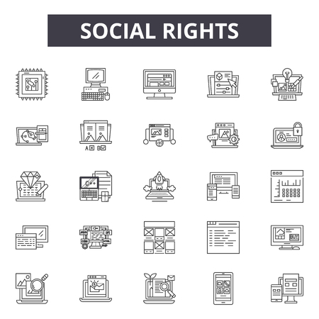 Social rights line icons, signs set, vector. Social rights outline concept illustration: human,social,rights,deconcept