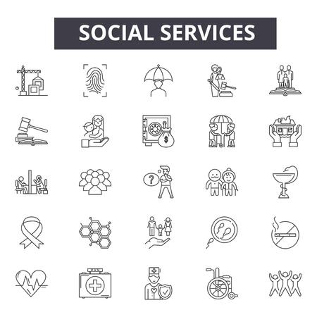 Social services line icons, signs set, vector. Social services outline concept illustration: service,social,support,hand,assistance,group,help Иллюстрация