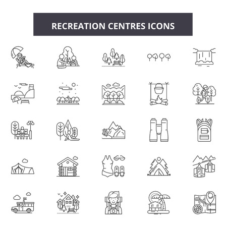 Recreation centres line icons, signs set, vector. Recreation centres outline concept illustration: recreation,sport,center,gym,pictogram,health,fitness