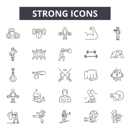 Strong line icons, signs set, vector. Strong outline concept illustration: strong,strength,arm,isolated,fitness