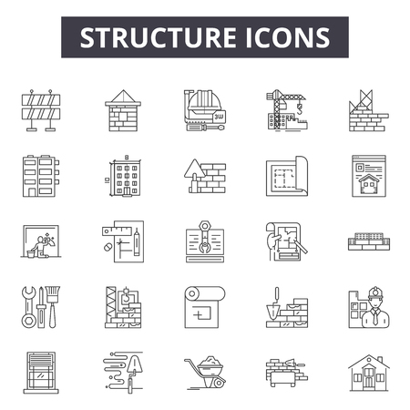 Structure line icons, signs set, vector. Structure outline concept illustration: structure,business,organization,corporate,team,company