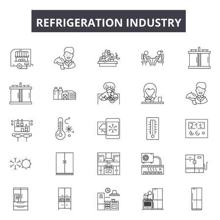 Refrigeration industry line icons, signs set, vector. Refrigeration industry outline concept illustration: technology,equipment,refrigerator,food,industry,appliance