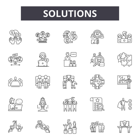 Solutions line icons, signs set, vector. Solutions outline concept illustration: solution,idea,business,concept,flat Reklamní fotografie - 121124992