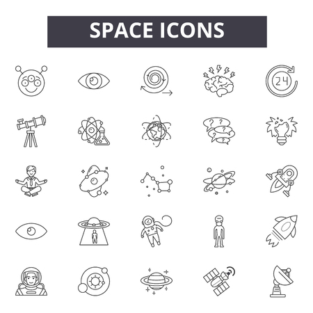 Space line icons, signs set, vector. Space outline concept illustration: space,planet,satellite,spaceship,astronomy,rocket,moon,astronaut,earth,star 일러스트