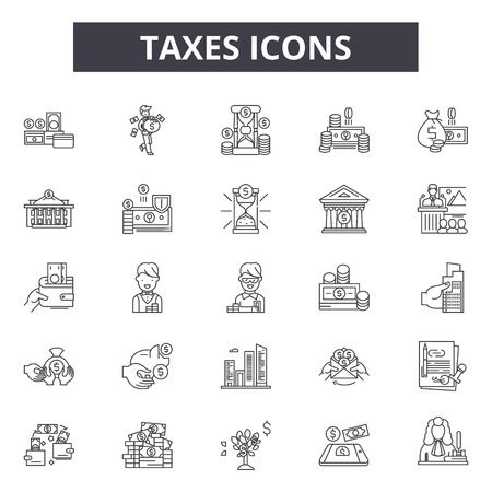 Taxes line icons, signs set, vector. Taxes outline concept illustration: money,finance,tax,business,pictogram,set
