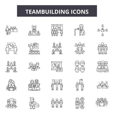 Teambuilding line icons, signs set, vector. Teambuilding outline concept illustration: teamwork,team,cooperation,teambuilding,business,partnership,work,connection