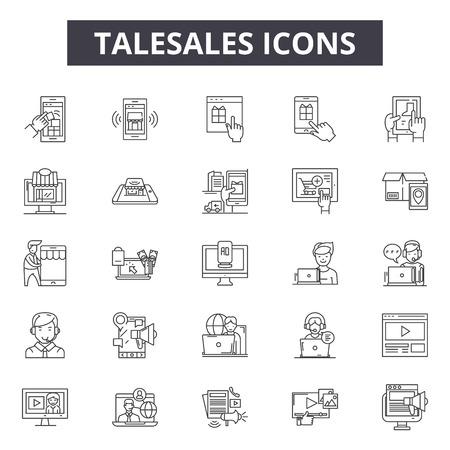 Telesales line icons, signs set, vector. Telesales outline concept illustration: telesales,phone,business,sale,support,service,communication,marketing