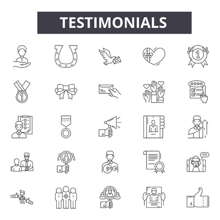 Testimonials line icons, signs set, vector. Testimonials outline concept illustration: opinion,comment,web,feedback,concept,chat