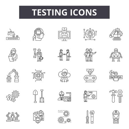 Testing line icons, signs set, vector. Testing outline concept illustration: test,check,mark,business,declipboard
