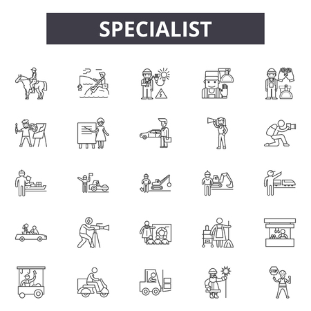 Specialist line icons, signs set, vector. Specialist outline concept illustration: specialist,business,human,support,service,linear,resource Illustration