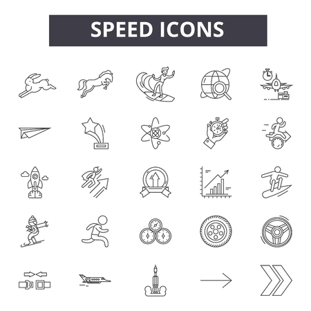 Speed line icons, signs set, vector. Speed outline concept illustration: speed,graphic,dearrow,speedometer,element Stockfoto - 123511703