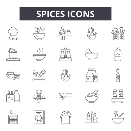 Spices line icons, signs set, vector. Spices outline concept illustration: leaf,spice,pepper,cooking,garlic,ginger,cinnamon
