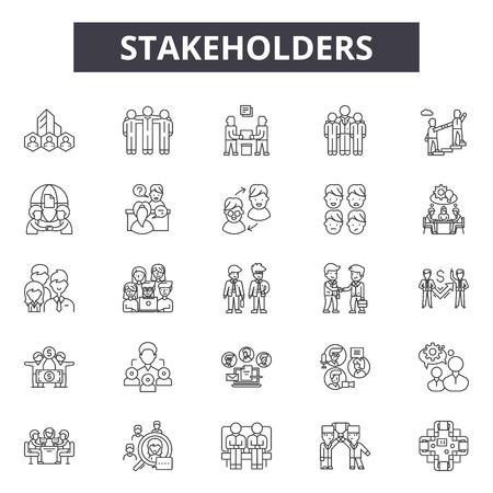 Icônes de ligne de parties prenantes, ensemble de signes, vecteur. Les parties prenantes décrivent l'illustration du concept: entreprise, gestion, partie prenante, interaction, relation, développement externe, service
