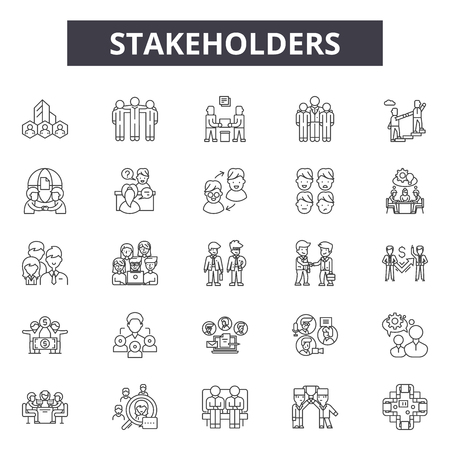 Stakeholders line icons, signs set, vector. Stakeholders outline concept illustration: business,management,stakeholder,interaction,relationship,outdevelopment,service