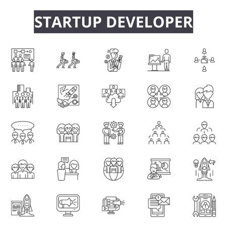 Startup developer line icons, signs set, vector. Startup developer outline concept illustration: business,development,startup,idea,marketing,web
