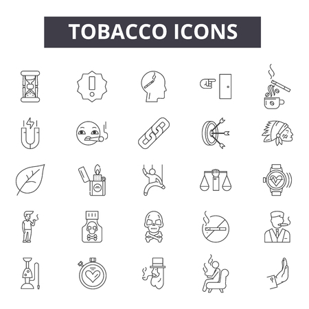 Tobacco line icons, signs set, vector. Tobacco outline concept illustration: tobacco,cigarette,cigar,smoke,nicotine,habit
