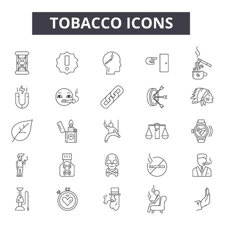 Tobacco line icons, signs set, vector. Tobacco outline concept illustration: tobacco,cigarette,cigar,smoke,nicotine,habit Vecteurs