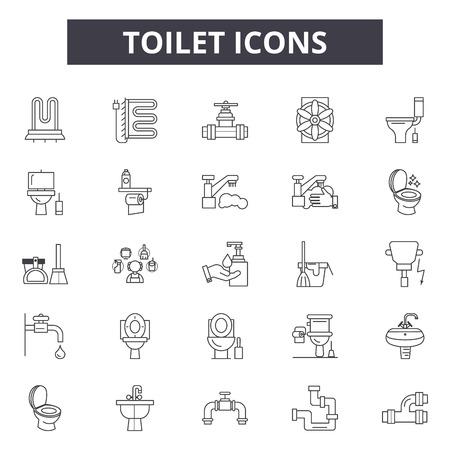 Iconos de línea de aseo, conjunto de signos, vector. Ilustración del concepto de esquema de inodoro: inodoro, baño, inodoro, baño, mujer