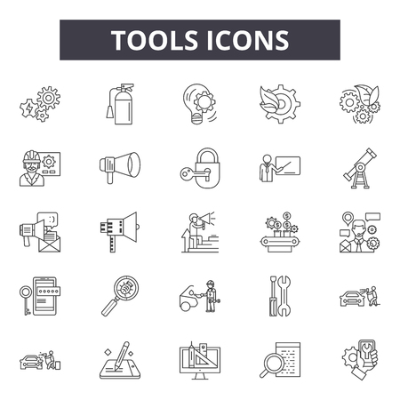 Tools line icons, signs set, vector. Tools outline concept illustration: spanner,repair,wrench,work,industry,tool