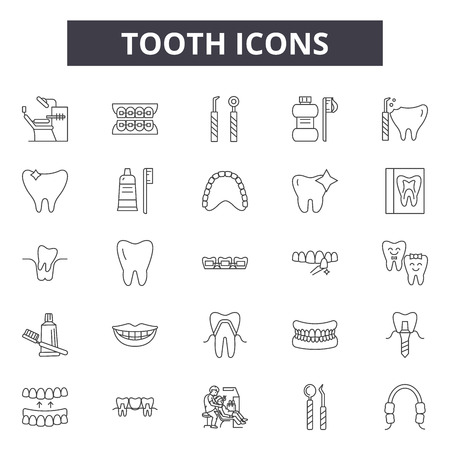 Tooth line icons, signs set, vector. Tooth outline concept illustration: tooth,dentist,dentistry,healthy,health,care Stock Illustratie