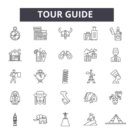 Tour guide line icons, signs set, vector. Tour guide outline concept illustration: guide,tour,travel,tourism,vacation,tourist