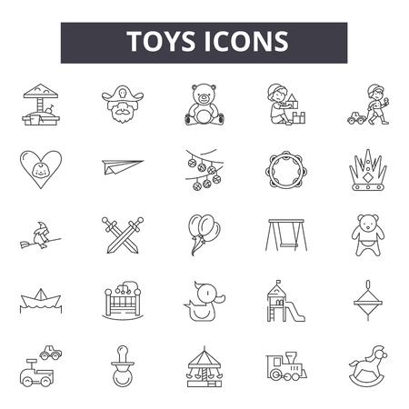 Icone della linea di giocattoli, set di segni, vettore. Illustrazione del concetto di contorno di giocattoli: auto, orso, palla, giocattolo, gioco, bambino, gioco, orsacchiotto, collezione Vettoriali