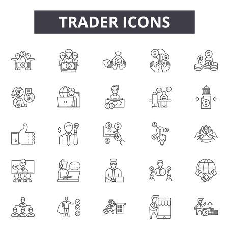 Trader line icons, signs set, vector. Trader outline concept illustration: trader,business,web,investment,flat,finance Vecteurs