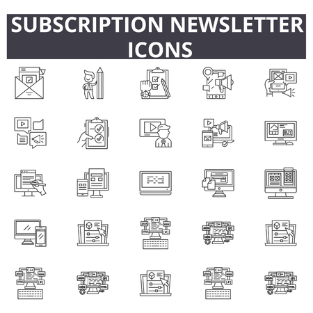 Subscription newsletter line icons, signs set, vector. Subscription newsletter outline concept illustration: email,newsletter,subscription,mail,letter,web Illustration