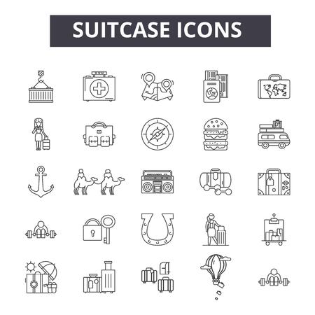 Suitcase line icons, signs set, vector. Suitcase outline concept illustration: suitcase,travel,business,luggage,bag Vetores