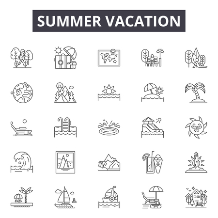 Icônes de ligne de vacances d'été, ensemble de signes, vecteur. Illustration de concept de contour de vacances d'été : été, vacances, voyage, plage, appareil photo, soleil, vacances Vecteurs