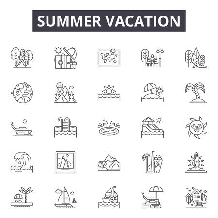 Summer vacation line icons, signs set, vector. Summer vacation outline concept illustration: summer,vacation,travel,beach,camera,sun,holiday