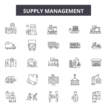 Supply management line icons, signs set, vector. Supply management outline concept illustration: business,management,supply,industry,warehouse,delivery,chain Illusztráció