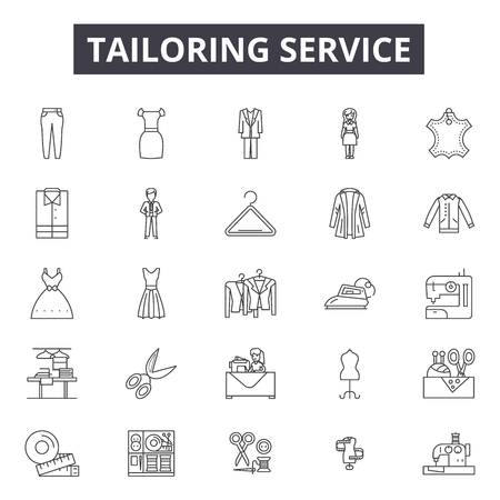 Tailoring service line icons, signs set, vector. Tailoring service outline concept illustration: service,tailor,fashion,deequipment,tailoring,clothing