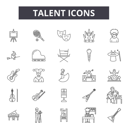 Talent line icons, signs set, vector. Talent outline concept illustration: talent,human,business,people,concept,work,job,employee