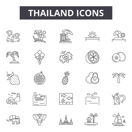 Thailand line icons, signs set, vector. Thailand outline concept illustration: travel,thailand,temple,thai,bangkok,buddha,architecture,tourism
