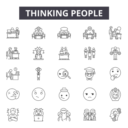 Thinking people line icons, signs set, vector. Thinking people outline concept illustration: depeople,think,person,silhouette,business Illustration