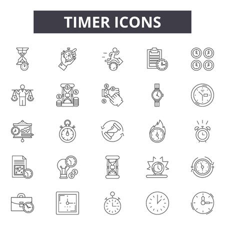 Icônes de ligne de minuterie, ensemble de signes, vecteur. Illustration de concept de contour de minuterie : horloge, temps, minuterie, montre, heure, chronomètre Vecteurs