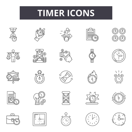 Timer line icons, signs set, vector. Timer outline concept illustration: clock,time,timer,watch,hour,stopwatch