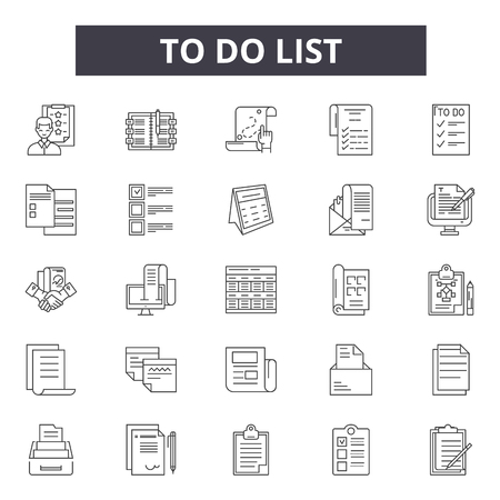 To do list line icons, signs set, vector. To do list outline concept illustration: list,business,note,office,checklist,check,paper Ilustrace