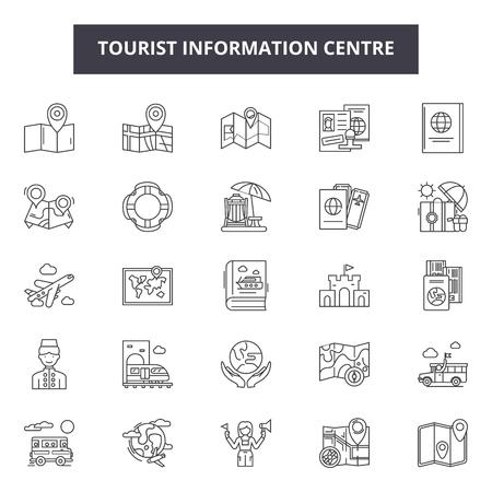 Icônes de ligne de centre d'information touristique, ensemble de signes, vecteur. Centre d'information touristique contour concept illustration : information,tourisme,centre,touristique,voyage,info,service
