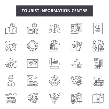 Tourist information centre line icons, signs set, vector. Tourist information centre outline concept illustration: information,tourism,center,tourist,travel,info,service
