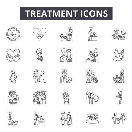Icônes de ligne de traitement, ensemble de signes, vecteur. Illustration de concept de contour de traitement : traitement, soins, médical, pureté, eaux usées