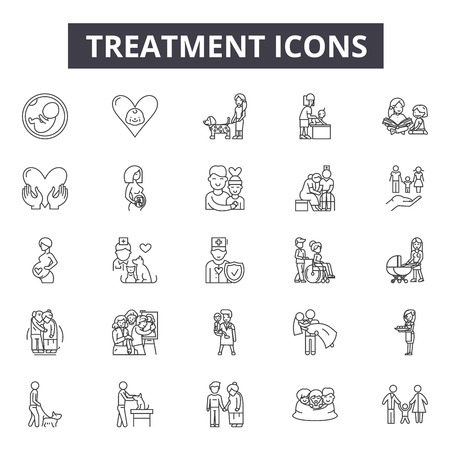 Treatment line icons, signs set, vector. Treatment outline concept illustration: treatment,care,medical,purity,wastewater