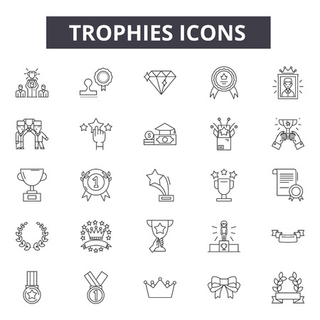 Trophies line icons, signs set, vector. Trophies outline concept illustration: trophy,winner,prize,cup,success,first,competition,award