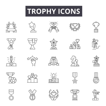 Trophy line icons, signs set, vector. Trophy outline concept illustration: trophy,winner,prize,cup,success,first,competition,award