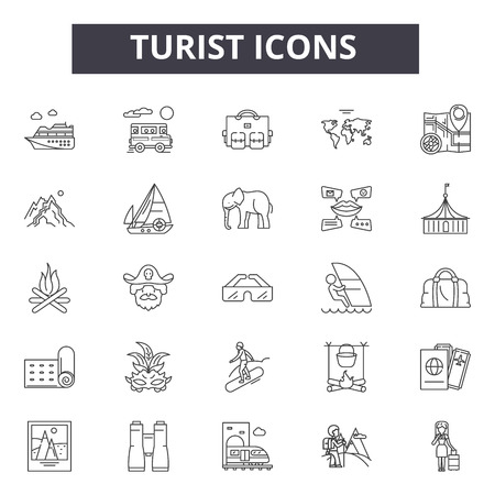 Turist line icons, signs set, vector. Turist outline concept illustration: travel,isolated,holiday,deturist,tourism,city