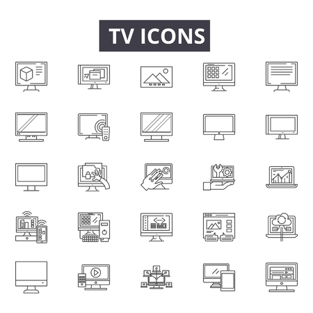 Tv line icons, signs set, vector. Tv outline concept illustration: tv,television,screen,technology,media,video Stock Illustratie