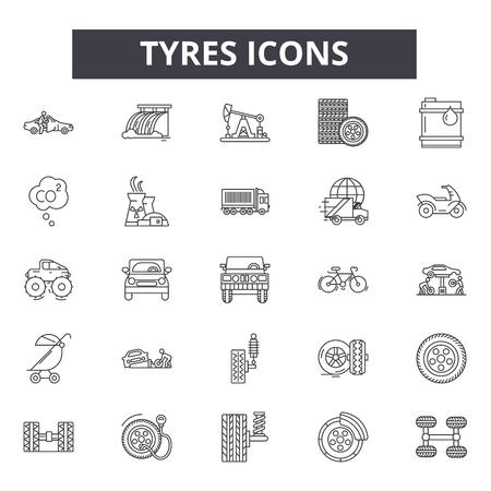 Icone della linea di pneumatici, set di segni, vettore. Illustrazione del concetto di contorno di pneumatici: pneumatico, nero, pneumatico, auto, ruota, auto, isolato Vettoriali